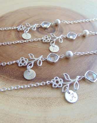 Bridesmaid bracelet, Personalized Initial Bracelet, Custom Birthstone bracelet, Flower girl gift, stamped Charm, Flower & crystal bracelet.