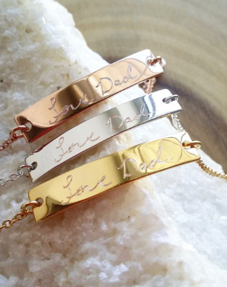 Custom Handwriting bracelet, actual handwritten bar bracelet, engraved signature bracelet, Memorial Personalized Keepsake Gift, mothers gift