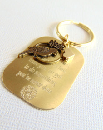 Custom personalized keychain, hand stamped unique key ring, message key charm, Mini mantra key chain, inspirational quote key holder plate