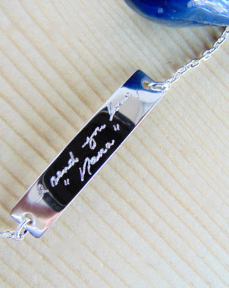 Customized Handwriting bracelet, signature bracelet, Personalized handwritten bar bracelet, engraved jewelry, Silver hand writing bracelet