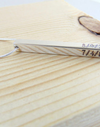 Date necklace, 4 sided Vertical bar necklace, personalized long silver bar pendant, Customized Roman numeral necklace, GPS Engraved Jewelry