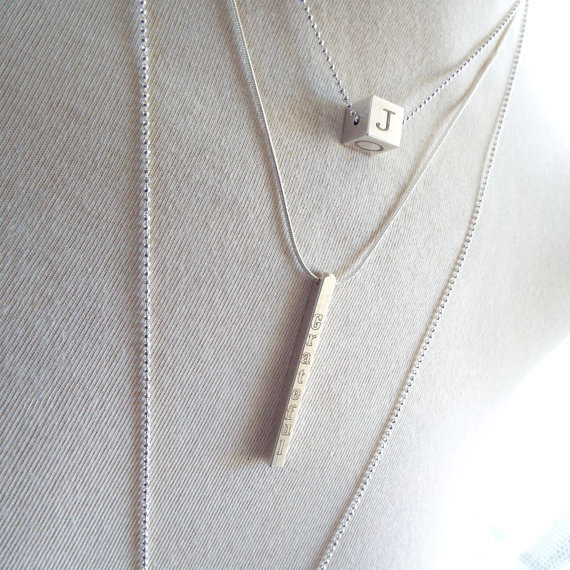 Date Necklace 4 Sided Vertical Bar Necklace Personalized
