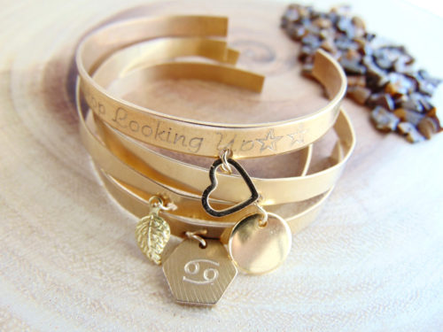 Gold Charm Bracelet Leaf Heart Zodiac Hexagon Custom Engraved Jewelry Personalized Cuff Layered Cuffs Bohemian Style Quote My Whys