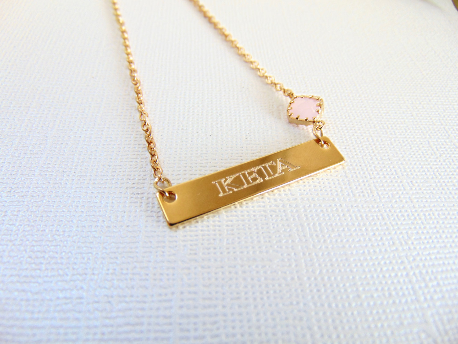 Gold Name Necklace Nameplate Bar Necklace Engraved Jewelry