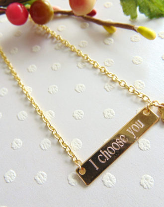 16K Gold Bar Necklace, Personalized Bridesmaid necklace