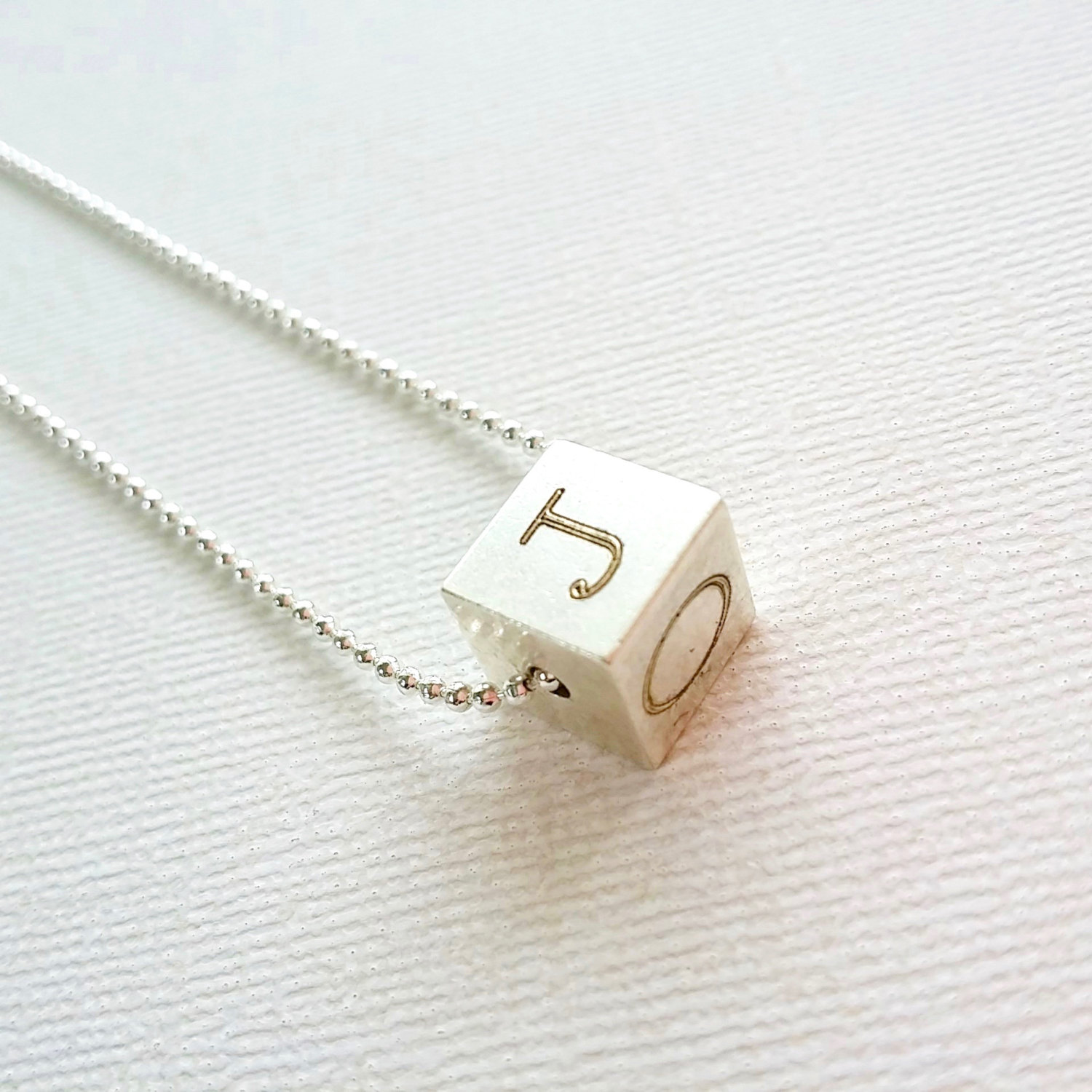 Initial Cube Necklace Personalized Cube Pendant Silver