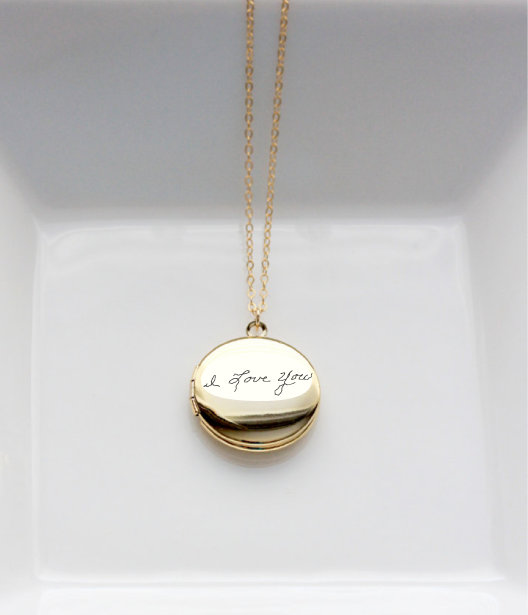 Locket Necklace Actual Handwriting Custom Handwritten