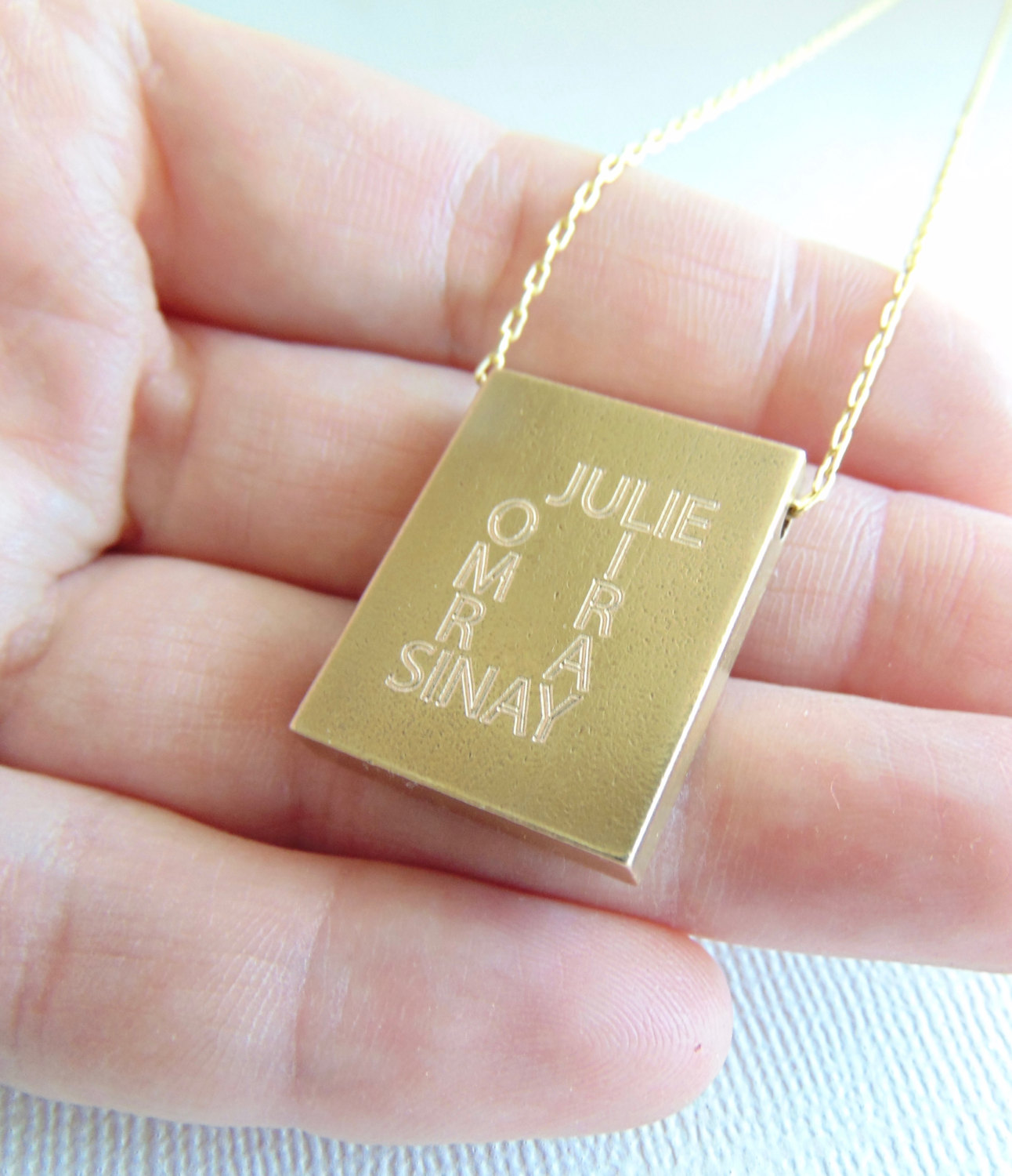 Message pendant, Rectangle necklace, custom quote necklace ...