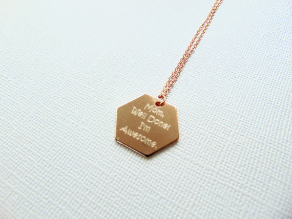 mom gift hexagon rose gold personalized necklace customized