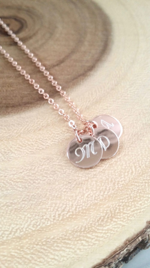 monogram disc necklace rose gold initial necklace personalized