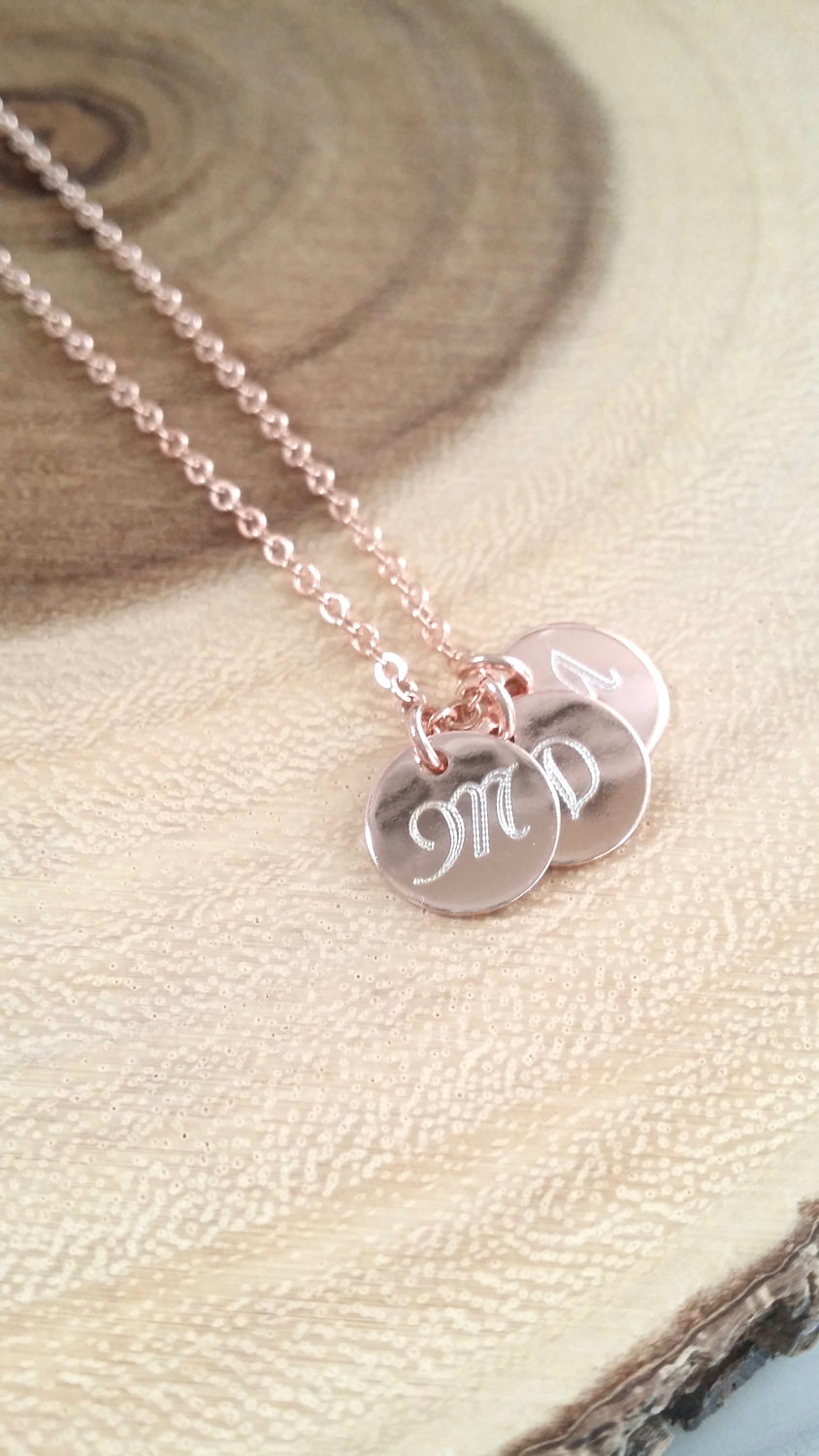 Monogram disc necklace rose gold initial necklace personalized prev aloadofball Choice Image