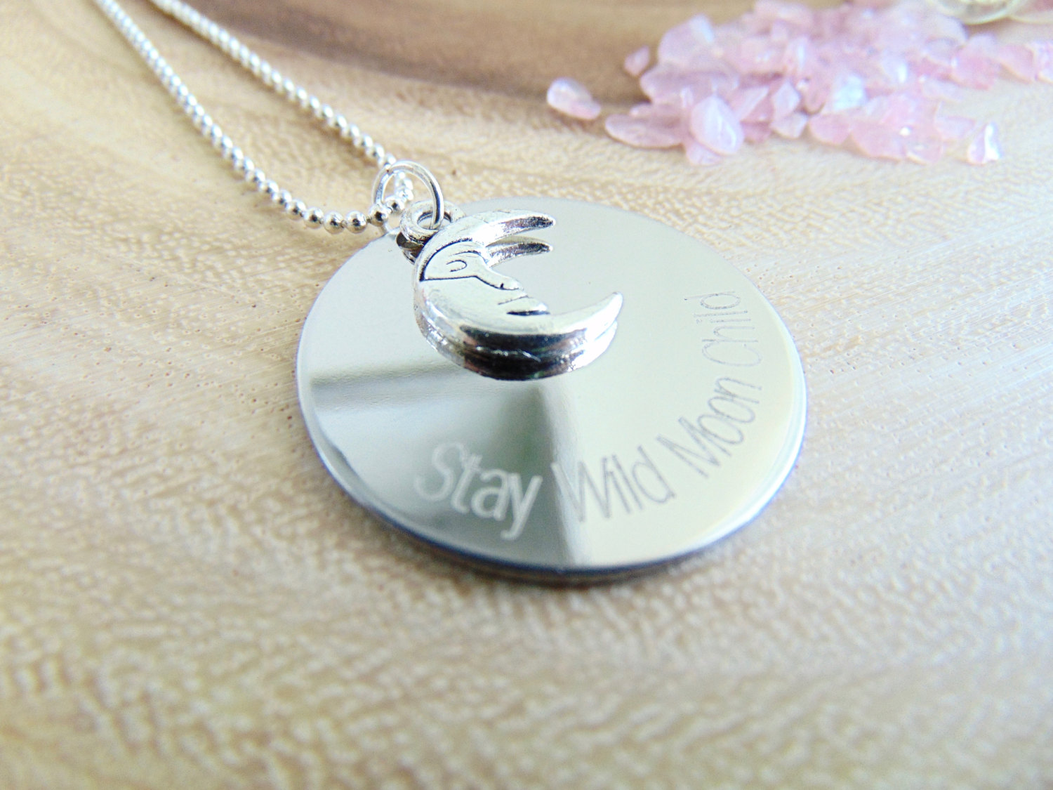 Moon necklace stay wild moon child silver crescent moon pendant prev aloadofball Gallery