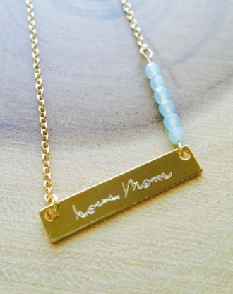 Mothers day Actual Handwriting necklace, Personalized handwritten bar necklace, gold engraved necklace, Custom hand writing jewelry