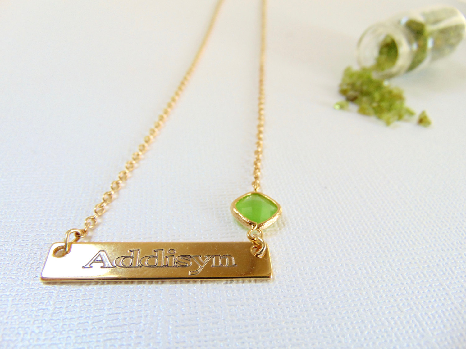 Mothers Day Gift 16k Gold Bar Necklace Birthstone Jewelry