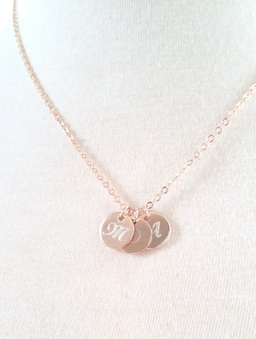 mothers day gift monogram disc necklace initial necklace