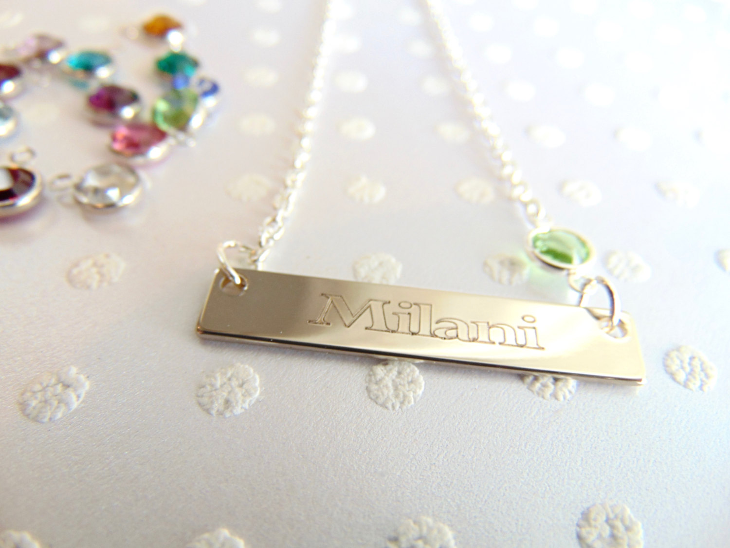 Mothers day gift, nameplate bar necklace, custom name ...
