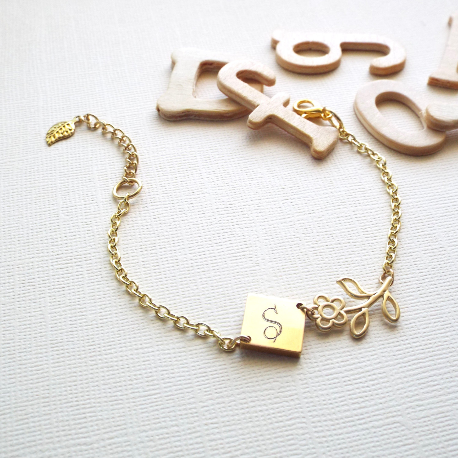 Engraved Charms For Bracelets: Mothers Day Gift, Personalized Bracelet, Gold Initial