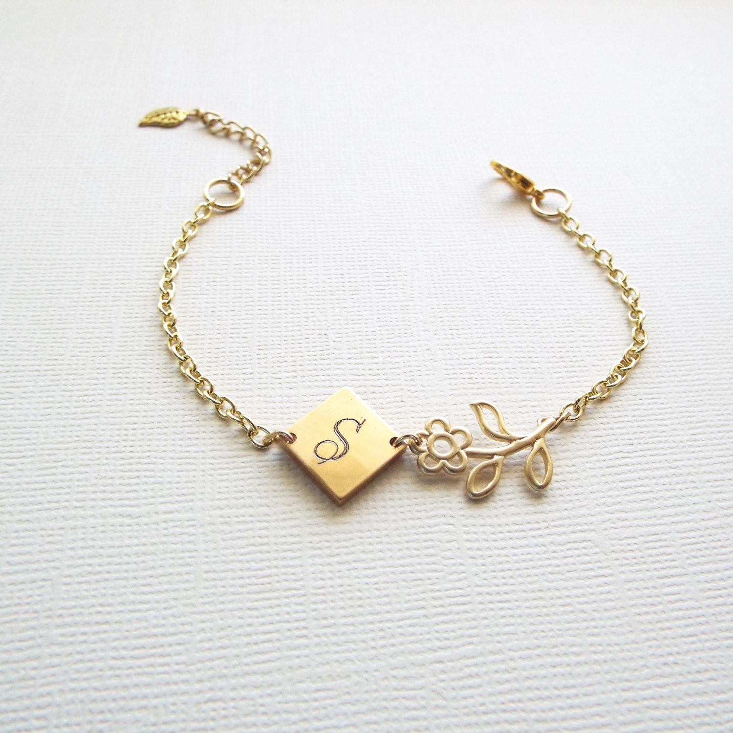 Personalized Charm Bracelet: Mothers Day Gift, Personalized Bracelet, Gold Initial