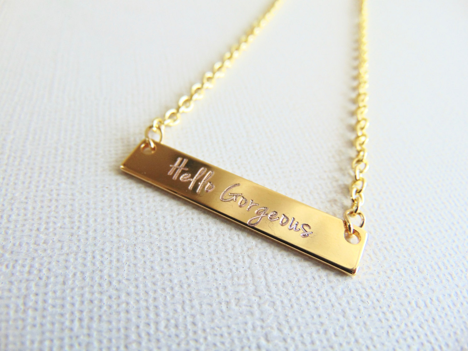 Name Necklace Nameplate Bar Necklace Engraved Jewelry Personalized
