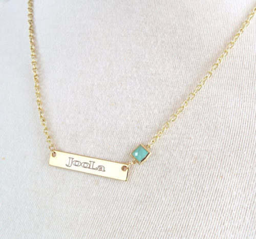 Nameplate necklace, 16K gold layered bar necklace, Opal October Birthstone, engraved jewelry, personalized custom Jewelry, Name pendant – My-Whys