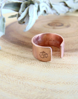 OM, Yoga, Secret message ring custom quote ring adjustable wide copper band Personalized engraved Ring spiritual jewelry Trust The Universe