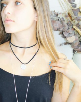 Personalized disc choker, Black leather coin necklace, double strand wrap choker, initial necklace, stamped letter necklace, coin choker.