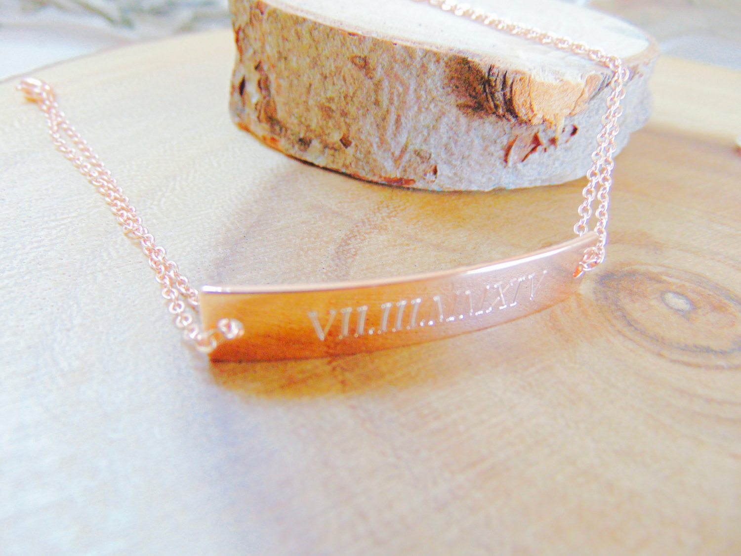 Rose Gold Personalized Bar Bracelet Date Jewelry