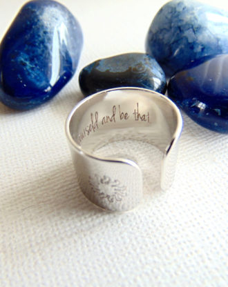 Secret message ring, custom quote ring, adjustable wide band ring Personalized engraved Ring spiritual & Inspirational jewelry Sun Yoga Ring