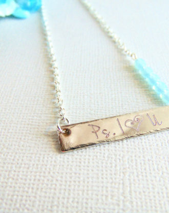 Silver bar necklace, custom name plate necklace with Aquamarine glass beads, personalized hand stamped I Love You necklace, Opal jewelry