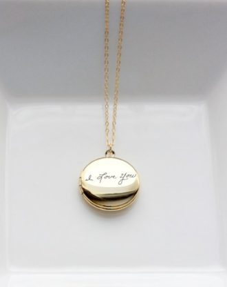 Locket necklace Custom handwritten  handwriting keepsake, , actual handwriting engraved keepsake jewelry, gold or silver necklace