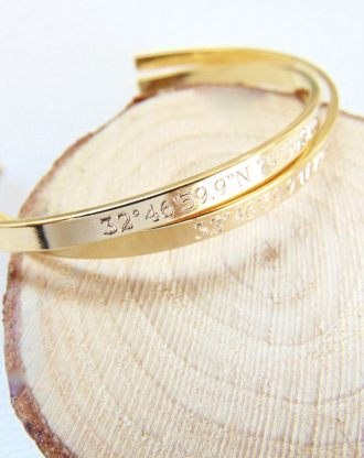 Coordinate Cuff Bracelet, customized location bracelet, GPS cuff, Engraved Latitude Longitude Bracelet, 16K gold or silver open bangle
