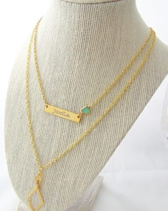 Diamond shape necklace, Rhombus pendant necklace, 16K gold or silver long layered necklace, Modern Geometric jewelry