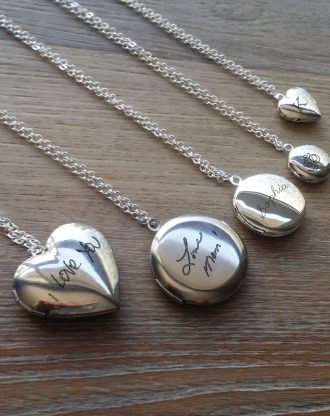 Handwritten Heart locket necklace, Custom hand writing keepsake gift idea, personalized engraved heart necklace, silver locket pendant.