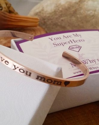 I love you MOM. Personalized Cuff Bracelet in Gold/Rose Gold/Silver, custom Quote Engraved message Bracelet, Stamped cuff, mothers day gift.