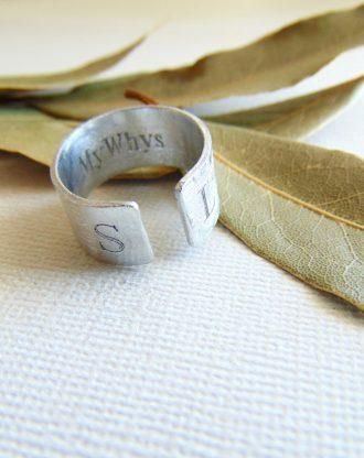 Initial Ring, Secret message ring, custom name ring, adjustable ring Personalized Stamped Ring spiritual & Inspirational Quote jewelry