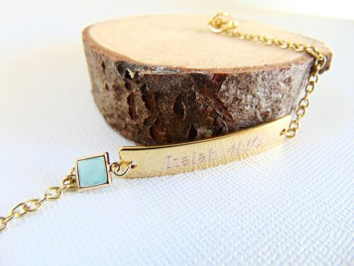 Personalized Bar Bracelet Bridesmaid Gift Customized Engraved Nameplate Gold Birthstone Jewelry Mint Wedding