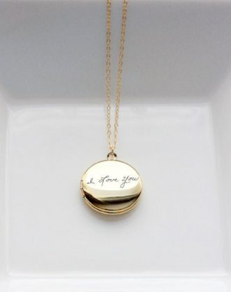Personalized handwriting keepsake, Custom Locket necklace, actual handwritten keepsake jewelry, gold/silver/rose gold necklace, engraved