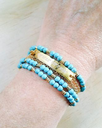 Turquoise Bracelet, Customized name plate, engraved gold bar Bracelet, personalized birthday gift, beaded wrap bracelet December birthstone.