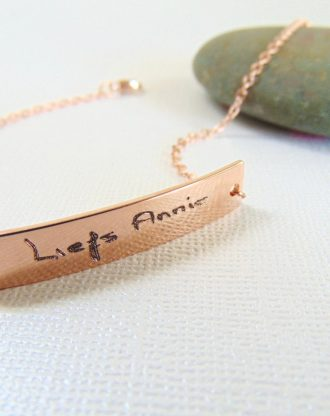 Actual Handwriting bracelet, Personalized handwritten bar bracelet, Rose gold engraved bracelet, Custom hand writing jewelry, Love gift.