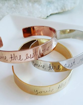 Actual Handwriting cuff bracelet, handwritten bracelet, custom signature cuff, personalized Keepsake Gift, silver, Rose gold, gold bangle