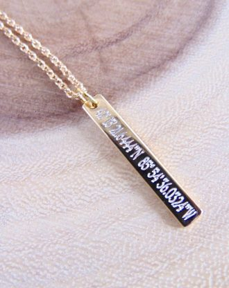 Custom coordinates Necklace, Vertical bar Location necklace, Personalized gift, GPS longitude latitude jewelry, 16K Gold/silver/rose gold