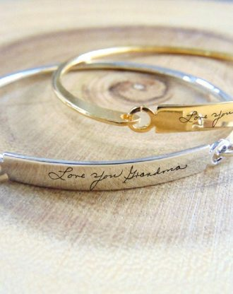 Custom Handwriting bangle, actual handwritten bar bracelet, engraved signature cuff, Memorial Personalized Keepsake Gift, name bangle.