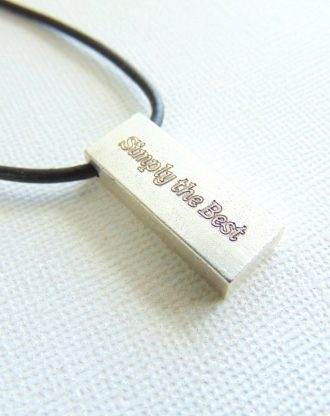 Fathers day Gift, Silver bar necklace, custom message necklace Personalized engraved words jewelry Simply the Best Dad Gift Leather necklace
