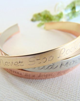 Inspirational stacking bracelet set. Mixed metal cuffs, hand stamped quote Bracelet, layered cuffs, mixed metal jewelry, Yoga Gift