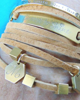 Multi strand leather bracelet, Brown suede wrap bracelet, custom gold initial charm bracelet, engraved jewelry, Hand stamped bracelet