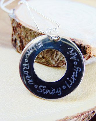 Name necklace, quote/phrase/verse/date/coordinate necklace, Family jewelry, stamped mother jewelry, circle necklace, silver Washer necklace