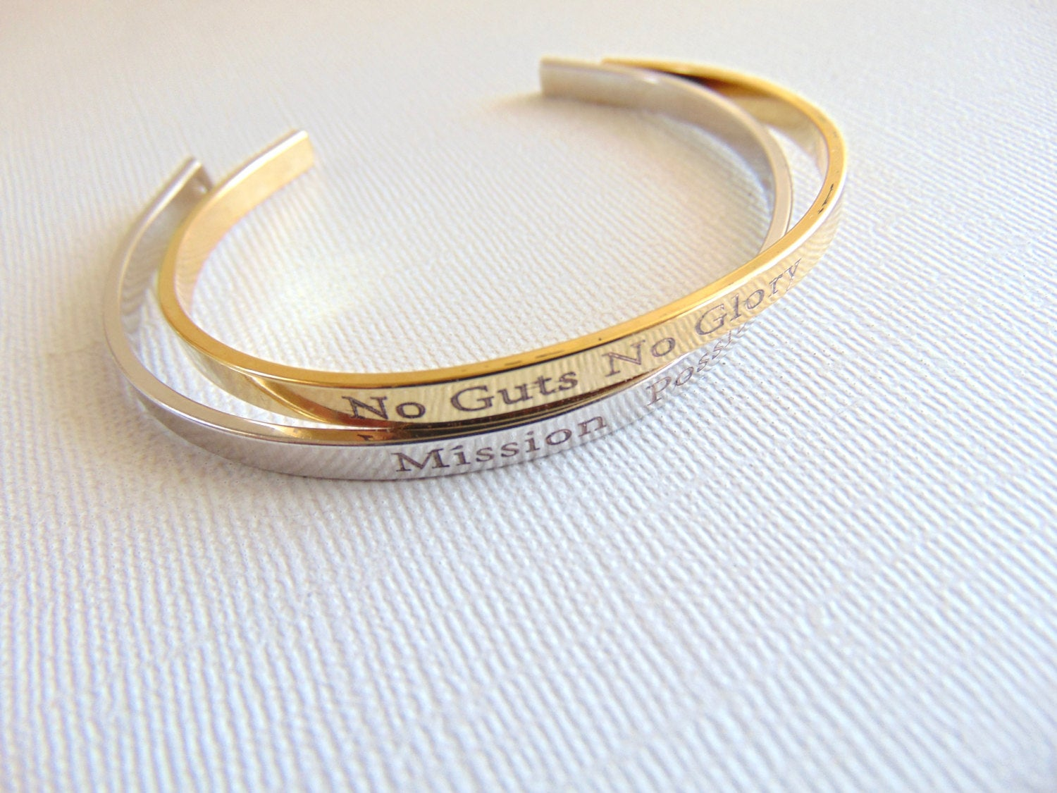 Personalized Gold Silver Cuff Bracelet Custom Text
