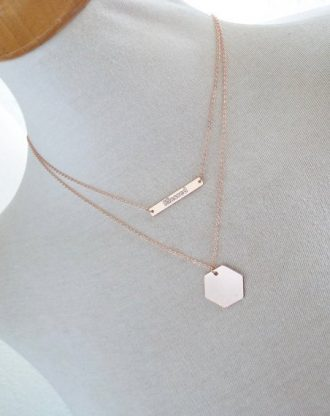 Rose Gold Bar Necklace, engraved Nameplate, custom message pendant, Horizontal bar, Bridesmaid Gift, Personalized jewelry and Gift