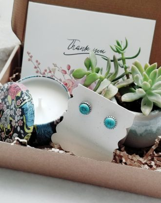 Thank you gift box, Live succulent gift, Send a gift, personalized gift set, appreciation present, genuine Turquoise earrings, engraved cuff