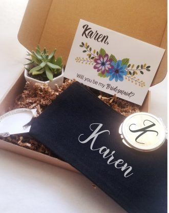 Bridesmaid proposal gift set, will you be my bridesmaid, live succulent, send a gift, Personalized asking bridesmaid gift, pre filled box